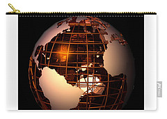 Carry-all Pouch featuring the digital art Bronze Globe... by Tim Fillingim
