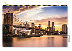 Brooklyn Bridge At Sunset  Carry-all Pouch by Mihai Andritoiu