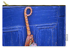Carry-all Pouch featuring the photograph Broom On Blue Door by Rodney Lee Williams