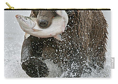 Brown Bear With Salmon Catch Carry-all Pouch