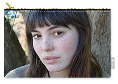 Carry-all Pouch featuring the photograph Brown Haired And Freckle Faced Natural Beauty Model Xiv by Jim Fitzpatrick