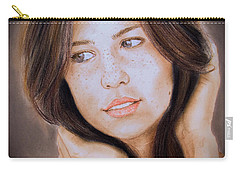 Carry-all Pouch featuring the drawing Brown Haired And Lightly Freckled Beauty Fade To Black Version by Jim Fitzpatrick