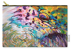 Brown Trout And Mayfly - Abstract Fly Fishing Art  Carry-all Pouch by Savlen Art