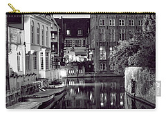 Bruges Canal In Black And White Carry-all Pouch