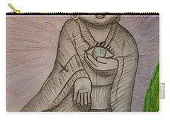 Carry-all Pouch featuring the drawing Buddha And The Eye Of The World by Thomasina Durkay