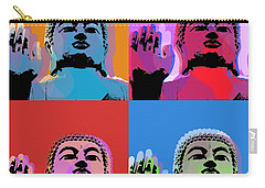 Carry-all Pouch featuring the digital art Buddha Pop Art - 4 Panels by Jean luc Comperat