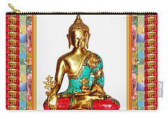 Buddha Sparkle Bronze Painted N Jewel Border Deco Navinjoshi  Rights Managed Images Graphic Design I Carry-all Pouch by Navin Joshi