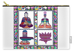 Buddha Yoga Chakra Lotus Shivalinga Meditation Navin Joshi Rights Managed Images Graphic Design Is A Carry-all Pouch by Navin Joshi
