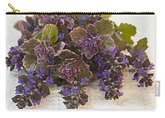 Carry-all Pouch featuring the photograph Buglweed Blossoms And Leaves On Lace by Sandra Foster