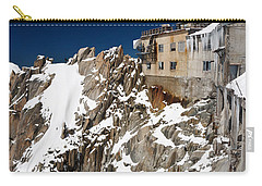 Carry-all Pouch featuring the photograph building in Aiguille du Midi - Mont Blanc by Antonio Scarpi