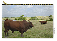 Carry-all Pouch featuring the photograph Bull And Cattle by Charles Beeler
