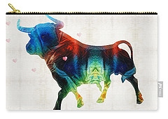 Bull Art - Love A Bull 2 - By Sharon Cummings Carry-all Pouch by Sharon Cummings