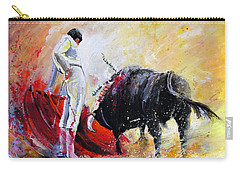 Bull In Yellow Light Carry-all Pouch by Miki De Goodaboom