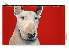 Bull Terrier On Red Carry-all Pouch