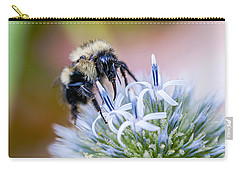 Carry-all Pouch featuring the photograph Bumblebee On Thistle Blossom by Marty Saccone