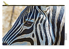 Burchell's Zebra's Face In Kruger National Park-south Africa Carry-all Pouch
