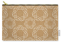Burlap And White Geometric Flowers Carry-all Pouch