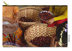 Carry-all Pouch featuring the photograph Burmese Ladies Sorting Water Chestnuts Zay Cho Street Market 29th Street Mandalay Burma by Ralph A  Ledergerber-Photography