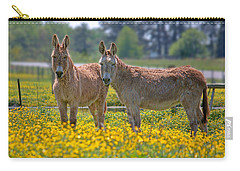 Burros In The Buttercups Carry-all Pouch by Suzanne Stout