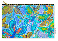 Carry-all Pouch featuring the mixed media Butterflies On Blue by Teresa Ascone
