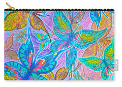 Carry-all Pouch featuring the mixed media Butterflies On Lilac by Teresa Ascone