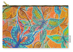 Carry-all Pouch featuring the painting Butterflies On Tangerine by Teresa Ascone