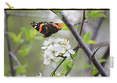 Carry-all Pouch featuring the photograph Butterfly And Apple Blossoms by Penny Meyers