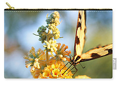 Carry-all Pouch featuring the photograph Butterfly At Work by Trina  Ansel
