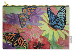Carry-all Pouch featuring the painting Butterfly Garden by Ellen Levinson