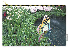 Carry-all Pouch featuring the photograph Butterfly Garden Ladybug Flowers Green Theme by Navin Joshi