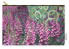 Carry-all Pouch featuring the photograph Butterfly Garden Purple White Flowers Painted Wall by Navin Joshi
