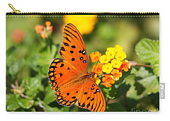 Butterfly In The Glades - Gulf Fritillary Carry-all Pouch by Christiane Schulze Art And Photography