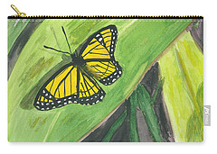 Carry-all Pouch featuring the painting Butterfly In Vermont Corn Field by Donna Walsh