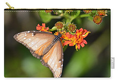 Carry-all Pouch featuring the photograph Butterfly On Mexican Flame by Debra Martz