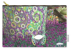 Carry-all Pouch featuring the photograph Butterfly Park Garden Painted Green Theme by Navin Joshi