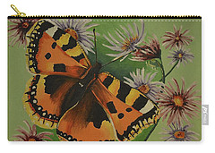 Carry-all Pouch featuring the painting Butterfly With Asters by Donna Blossom