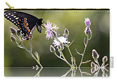 Carry-all Pouch featuring the photograph Butterfly With Reflection by Eleanor Abramson