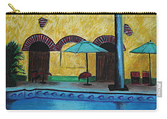 Carry-all Pouch featuring the painting By The Poolside by Jeanne Fischer