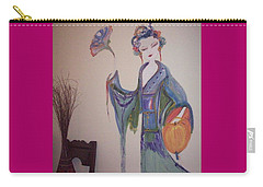 Carry-all Pouch featuring the painting Bye Bye Peony by Judith Desrosiers