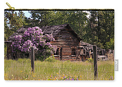 Cabin And Wildflowers Carry-all Pouch by Athena Mckinzie