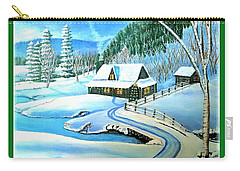 Carry-all Pouch featuring the painting Cabin Fever At Christmastime by Kimberlee Baxter