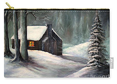 Carry-all Pouch featuring the painting Cabin In The Woods by Hazel Holland