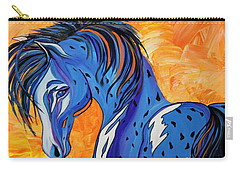 Carry-all Pouch featuring the painting Cadet The Blue Horse by Janice Rae Pariza