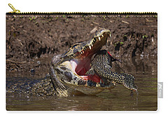 Caiman Vs Catfish 1 Carry-all Pouch by David Beebe