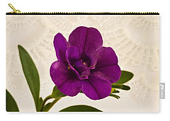 Carry-all Pouch featuring the photograph Calibrachea Petunia Blossom Macro  by Sandra Foster