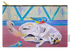 Carry-all Pouch featuring the painting Calico And Friends by Phyllis Kaltenbach