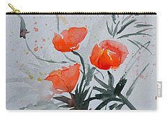 California Poppies Sumi-e Carry-all Pouch by Beverley Harper Tinsley