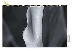 Carry-all Pouch featuring the photograph Calla Lily No. 2 - Bw by Belinda Greb