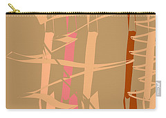 Carry-all Pouch featuring the digital art Calligraphic Doodle In Tan by Mary Bedy