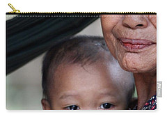 Carry-all Pouch featuring the photograph Cambodian Grandmother And Baby #3 by Nola Lee Kelsey